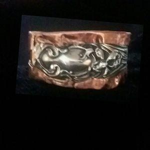 Antique Sterling Silver over Copper Cuff Bracelet